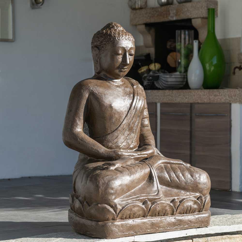 Statue jardin bouddha assis en fibre position offrande 105 for Bouddha pour jardin