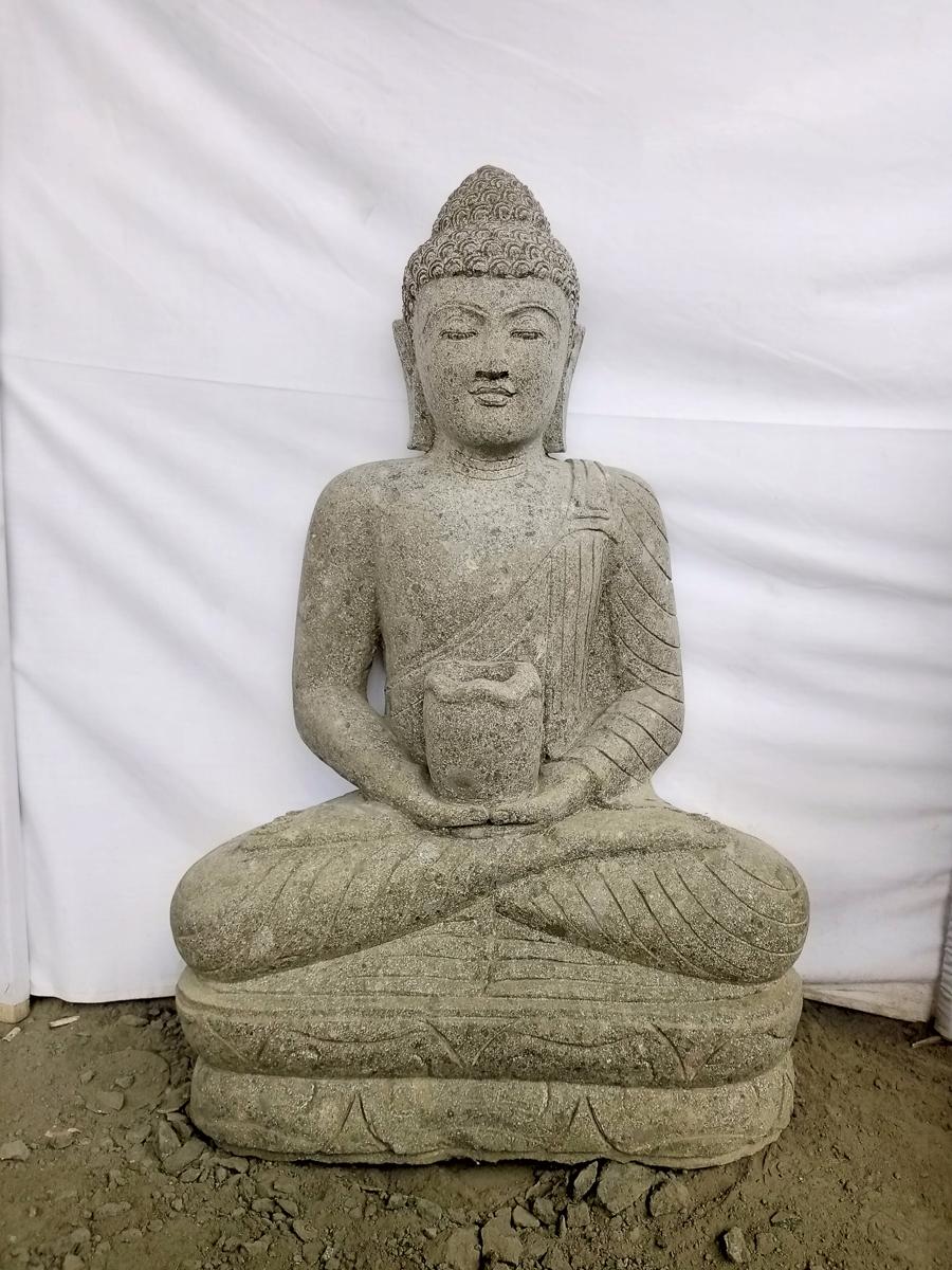 Statue jardin bouddha assis pierre volcanique position - Bouddha jardin zen ...