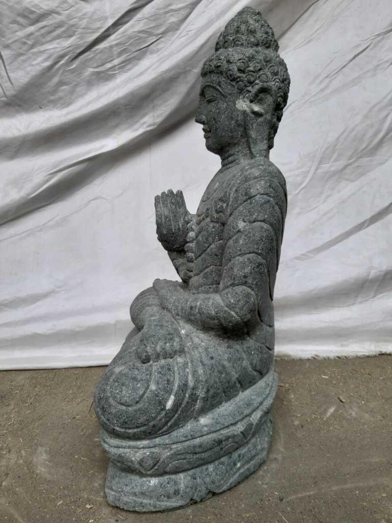 Statue jardin exterieur bouddha assis pierre volcanique for Fontaine exterieur bouddha