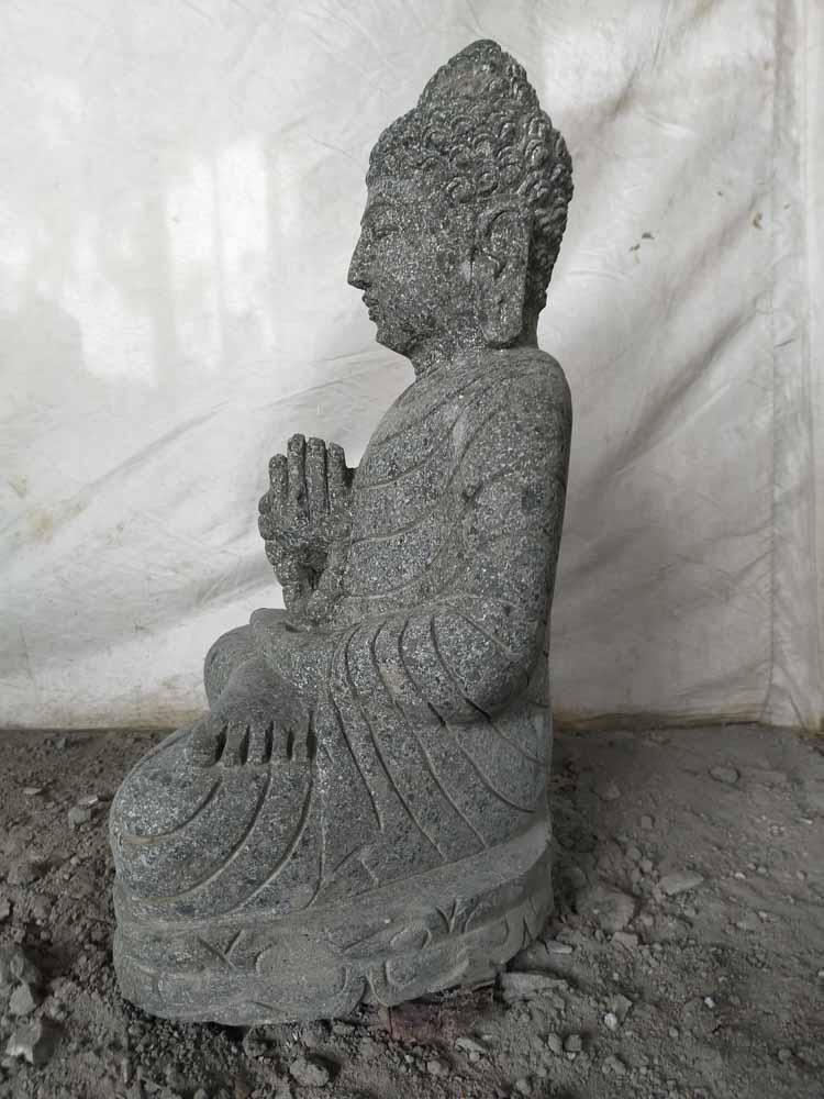 Statue jardin exterieur bouddha assis pierre volcanique - Statue bouddha exterieur pour jardin ...