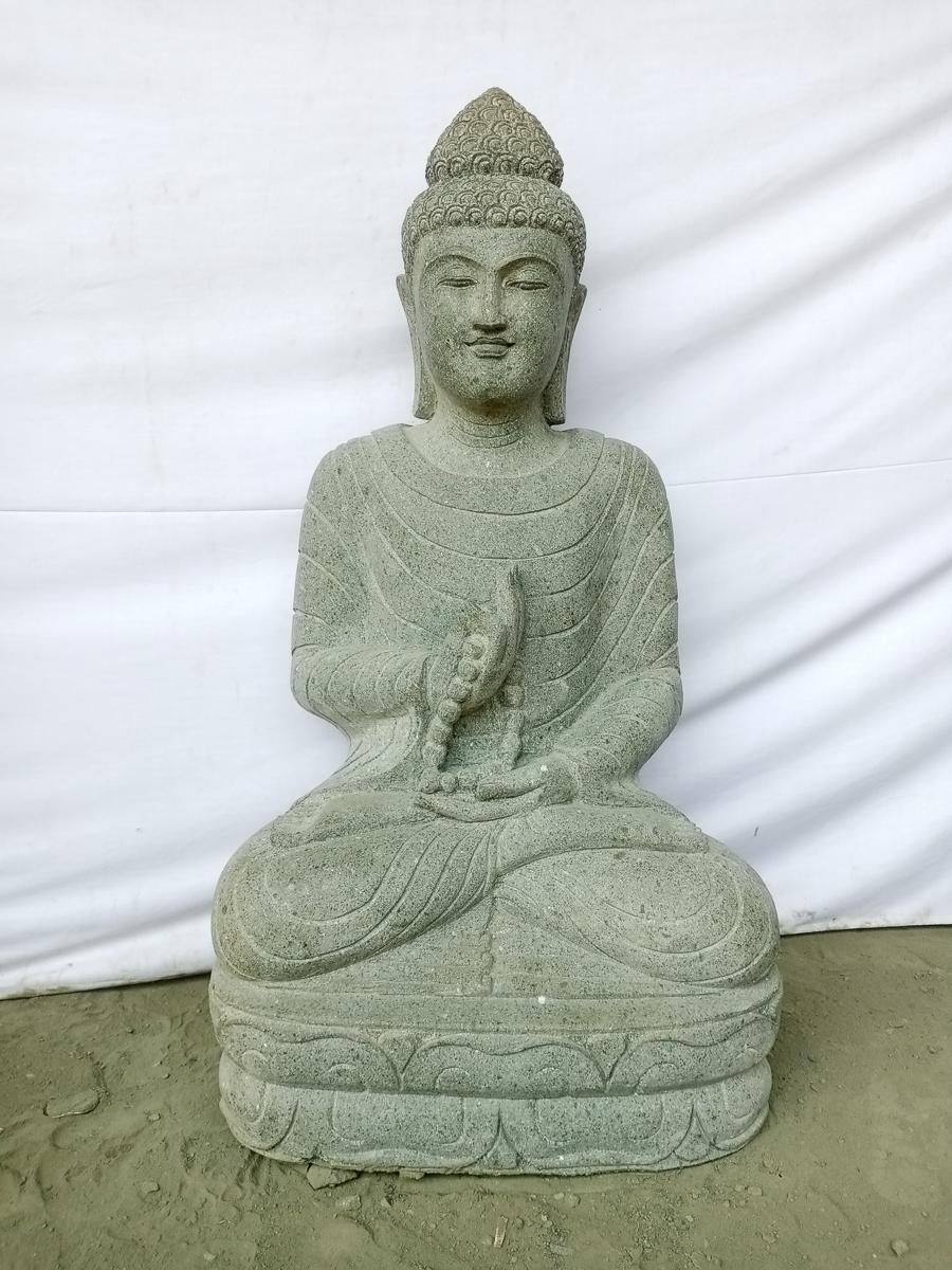 statue jardin zen bouddha assis en pierre naturelle. Black Bedroom Furniture Sets. Home Design Ideas