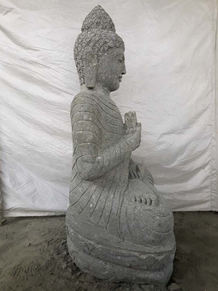 Statue jardin zen bouddha assis en pierre naturelle for Statue jardin zen