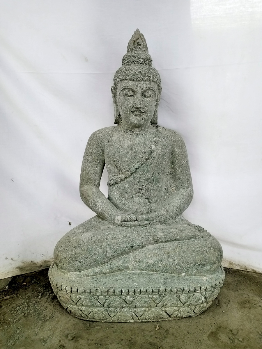 statue jardin zen bouddha assis en pierre volcanique offrande 83 cm. Black Bedroom Furniture Sets. Home Design Ideas