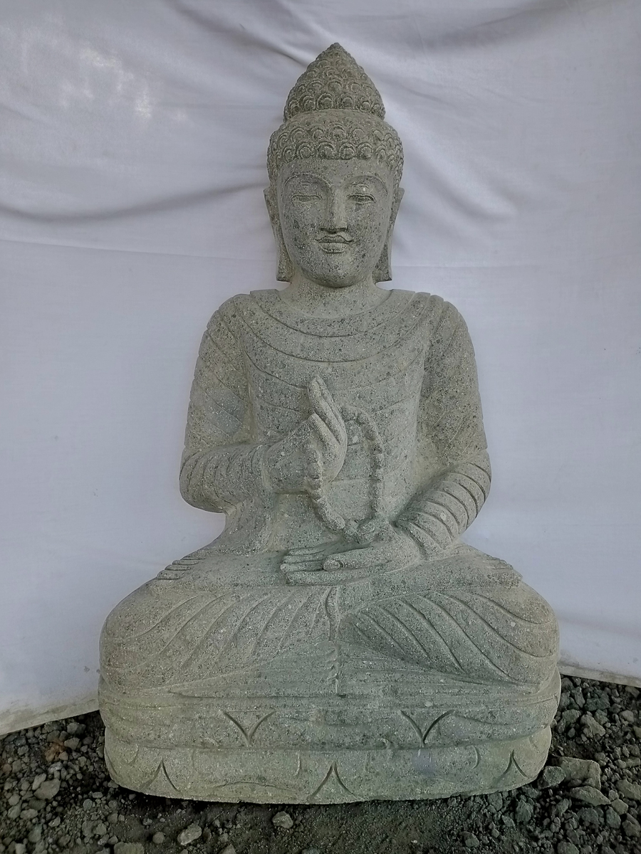 statue jardin zen bouddha pierre position offrande et chapelet 1m. Black Bedroom Furniture Sets. Home Design Ideas