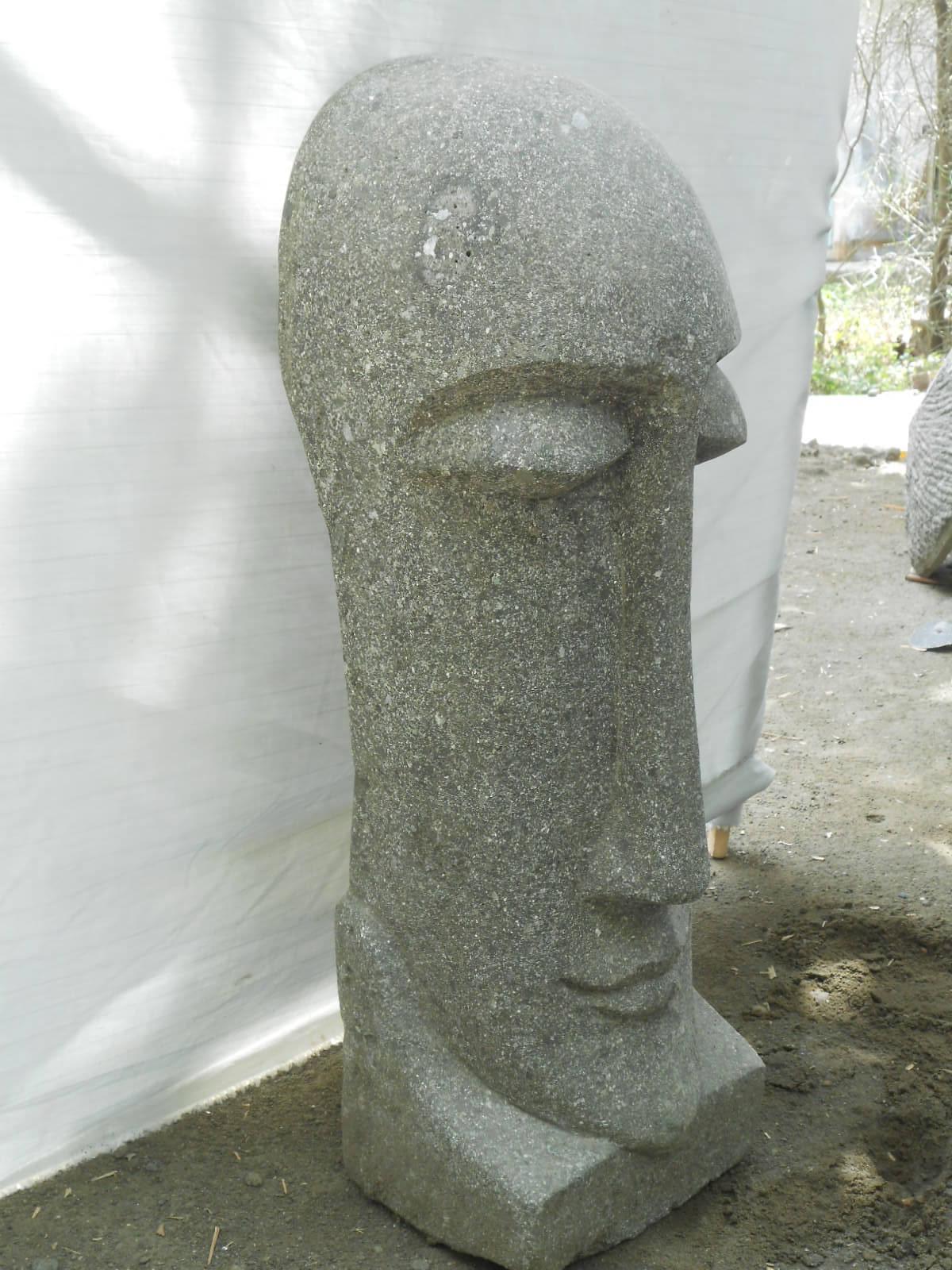 Statue jardin zen moa visage allong en pierre volcanique Statue jardin zen