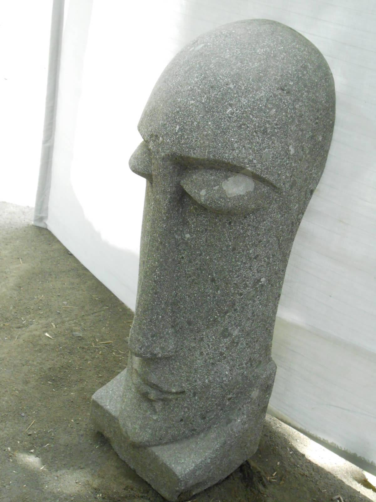 Statue Jardin Zen Moa Visage Allong En Pierre Volcanique
