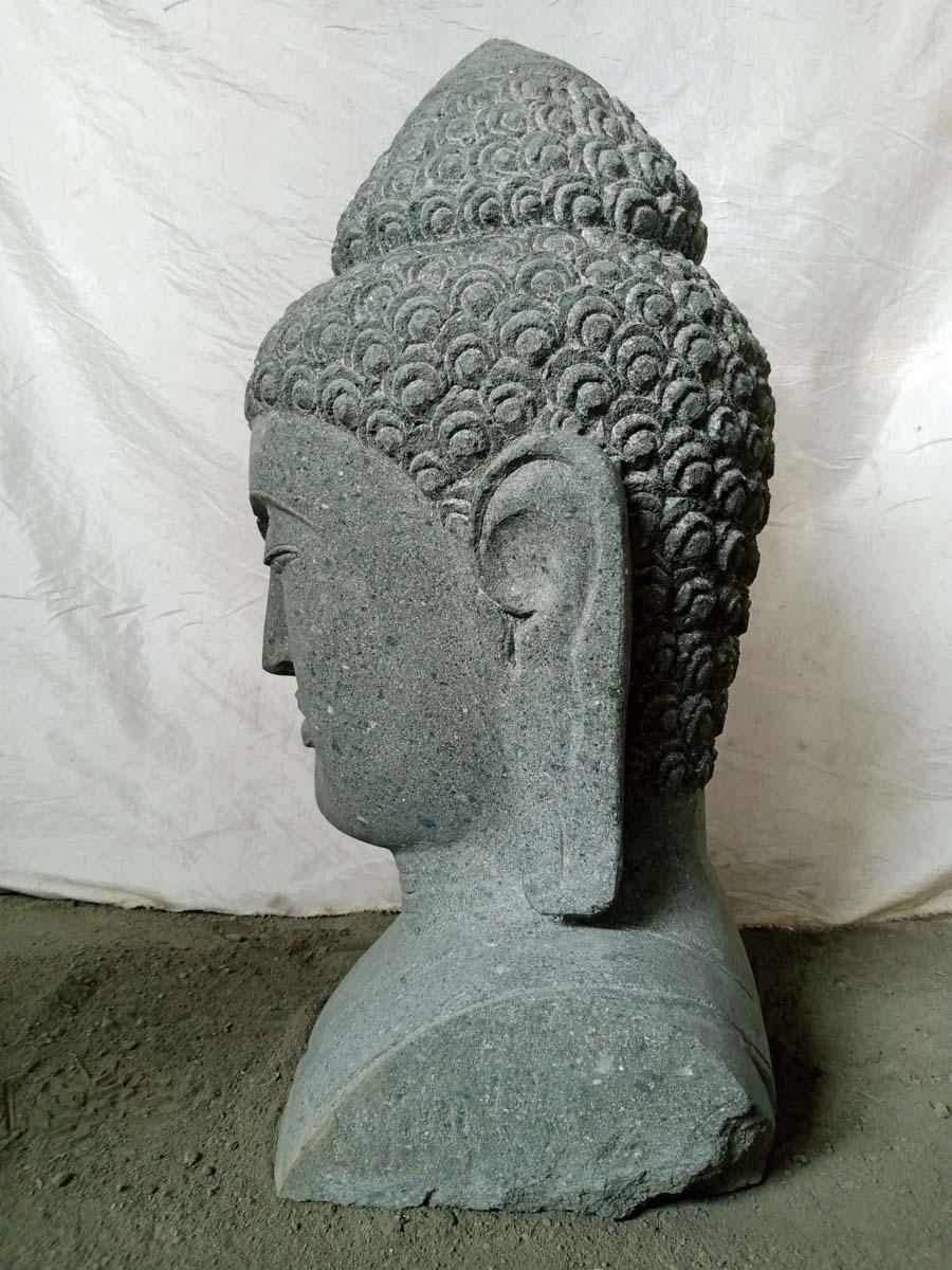 Statue Buste Bouddha Pierre Volcanique 70 Cm