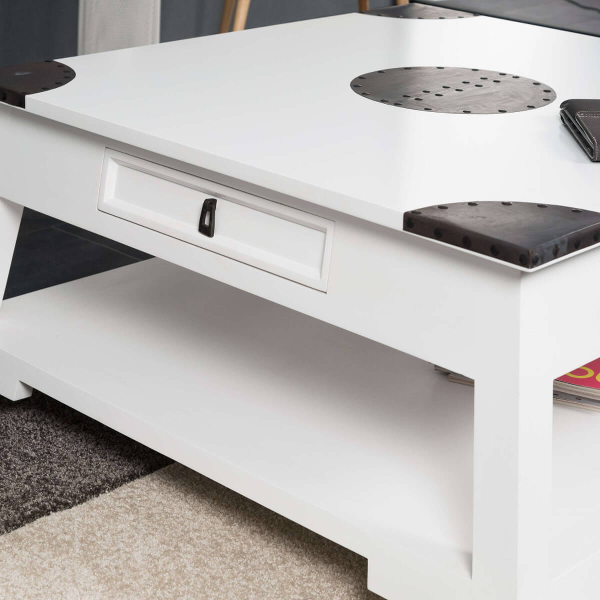 Table basse acajou bois massif carr e blanche thao 85 cm - Table basse moderne divine collection ...