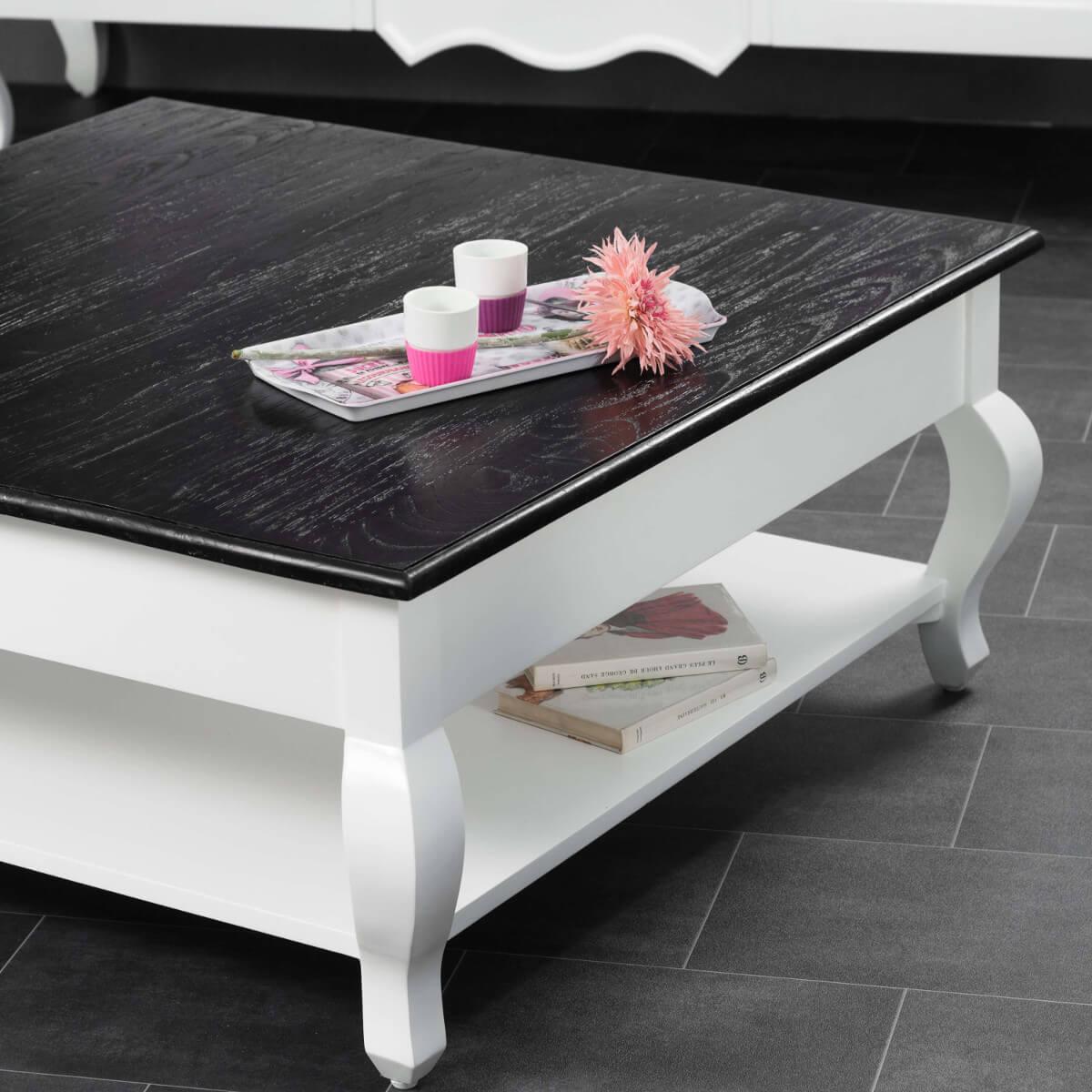 table basse acajou bois massif carr e blanche noire idao 95 cm. Black Bedroom Furniture Sets. Home Design Ideas