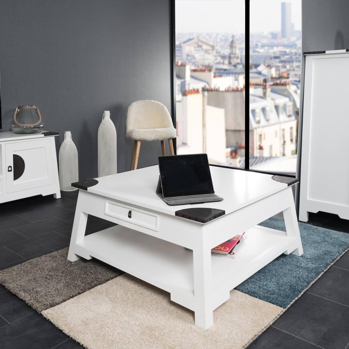 Table basse salon thao blanc 85 - Table salon blanc ...