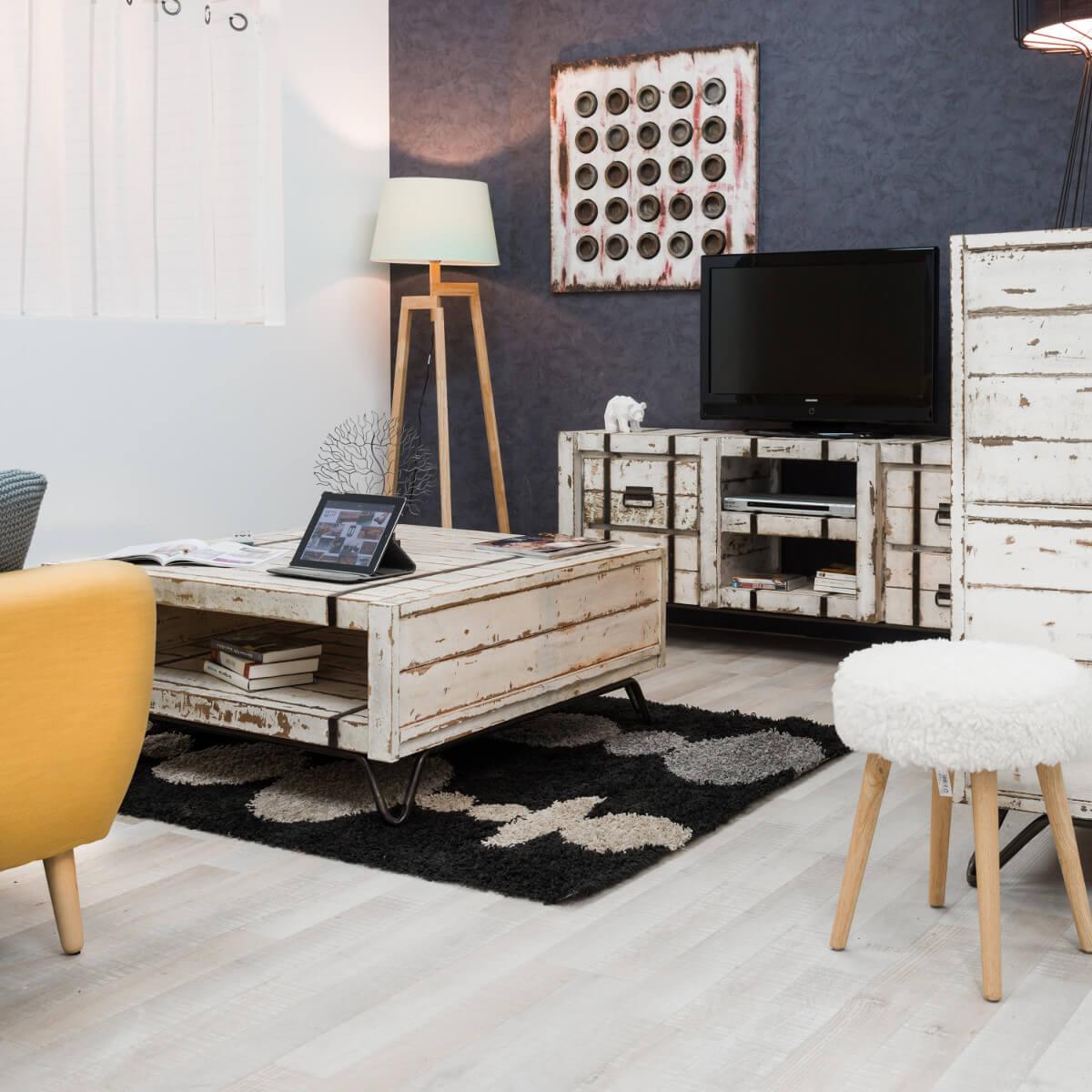Table basse industrielle meuble en bois rectangle blanche mindi loft 1 m - Table de salon rectangulaire ...
