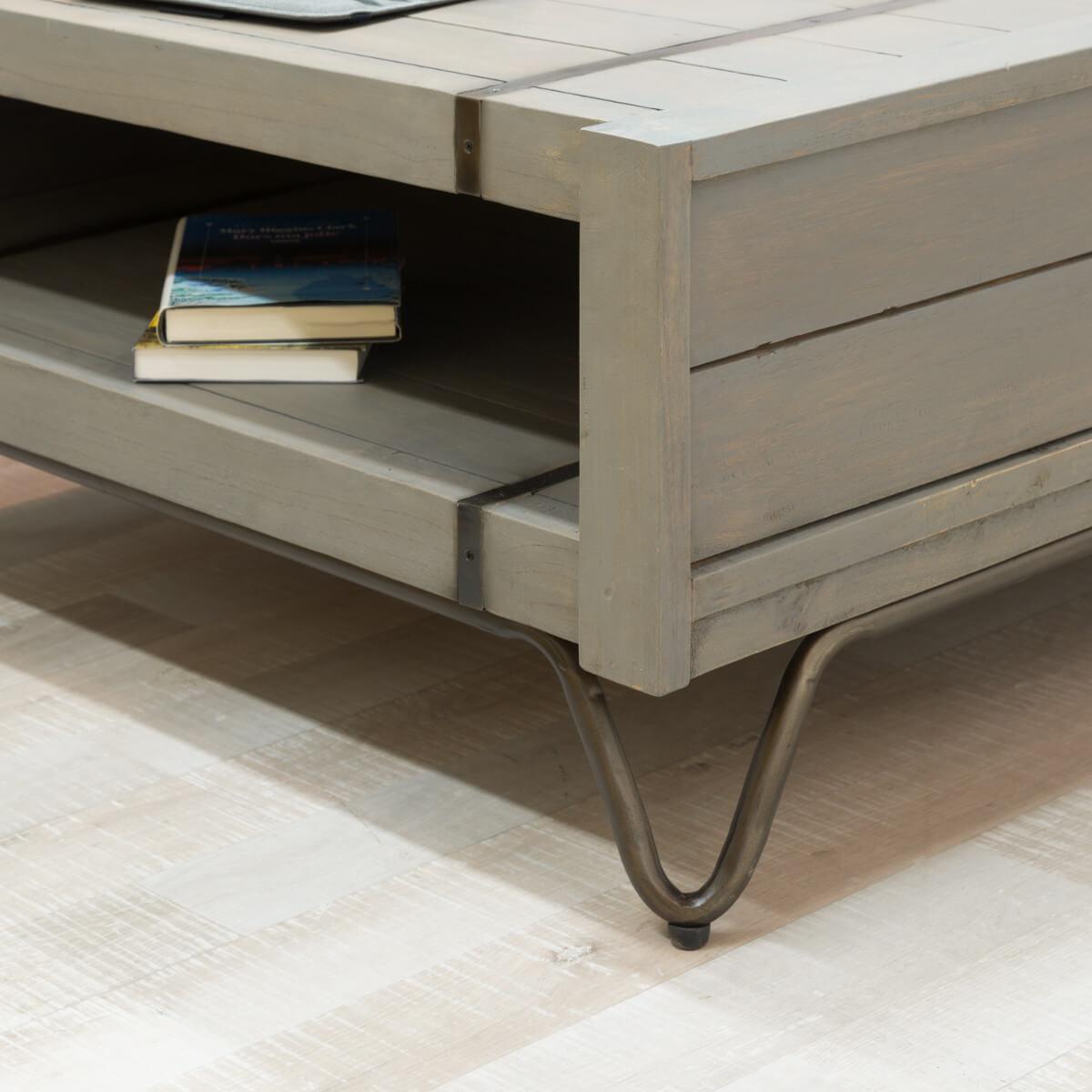 table basse industrielle meuble en bois rectangle grise mindi loft 1 m. Black Bedroom Furniture Sets. Home Design Ideas