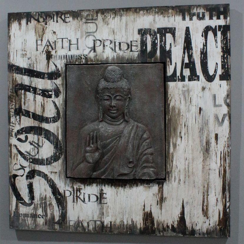 Tableau bouddha bois patin m tal industrielle et design - Tableau deco industrielle ...