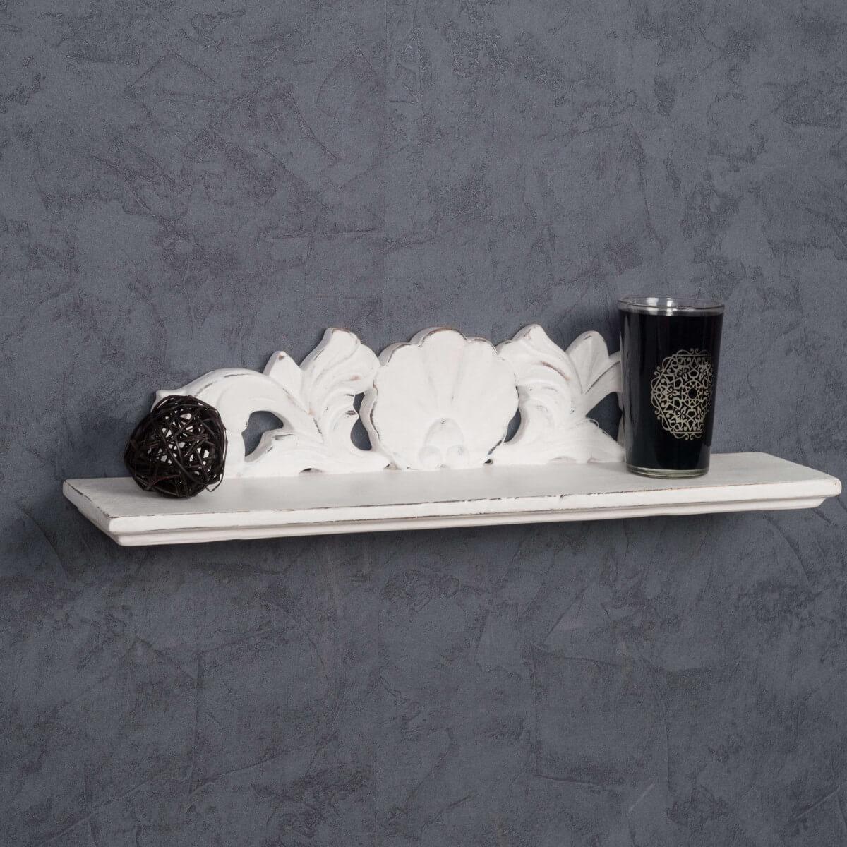 Tablette baroque blanc 50 cm for Accessoires salle de bain fly