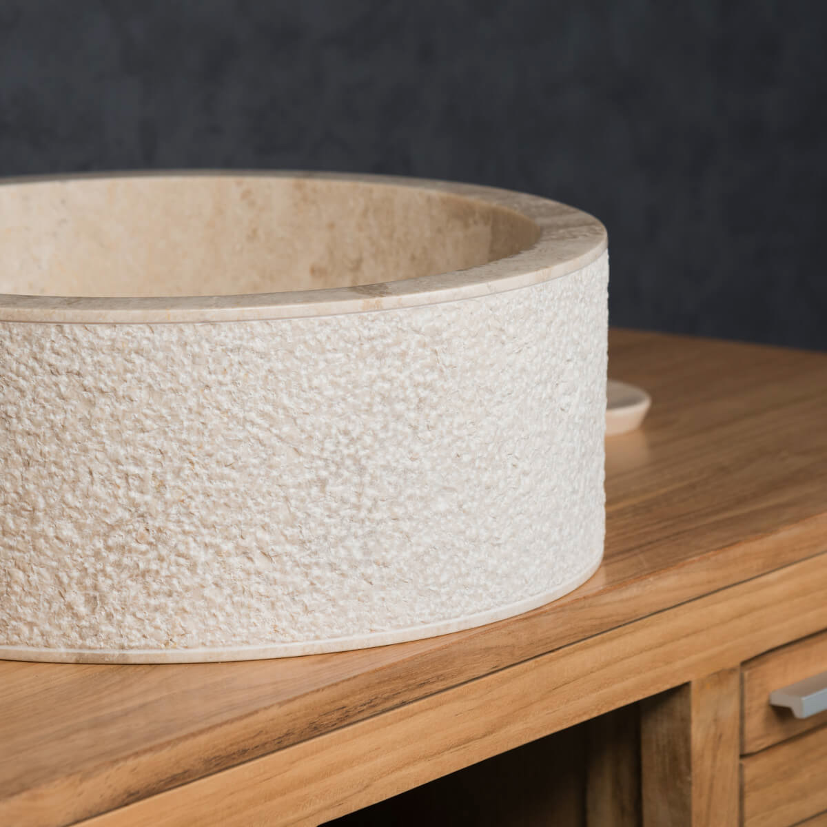 vasque poser marbre ronde cr me elbe l 40 x p. Black Bedroom Furniture Sets. Home Design Ideas