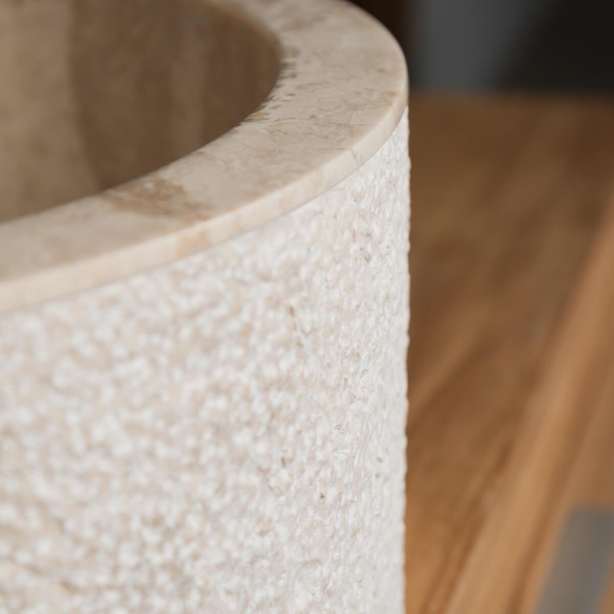 vasque poser marbre ronde cr me elbe l 40 x p 40 x h 15 cm. Black Bedroom Furniture Sets. Home Design Ideas