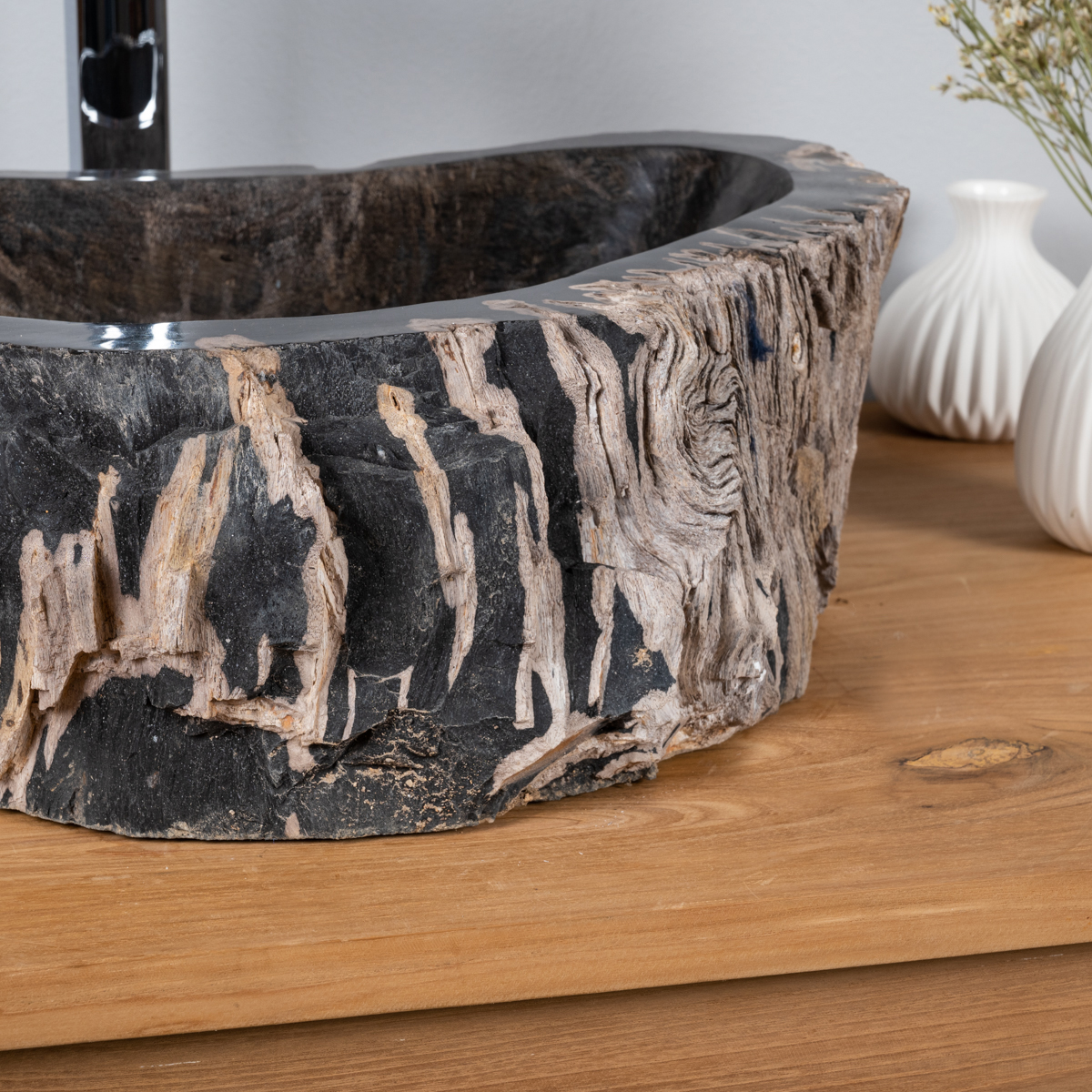 vasque vasque 224 poser bois p 233 trifi 233 fossilis 233 l 48 cm x p 38 cm x h 14 cm