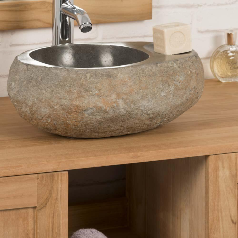 Vasque poser en galet de rivi re porte savon naturel l 35 cm - Galet de riviere ...
