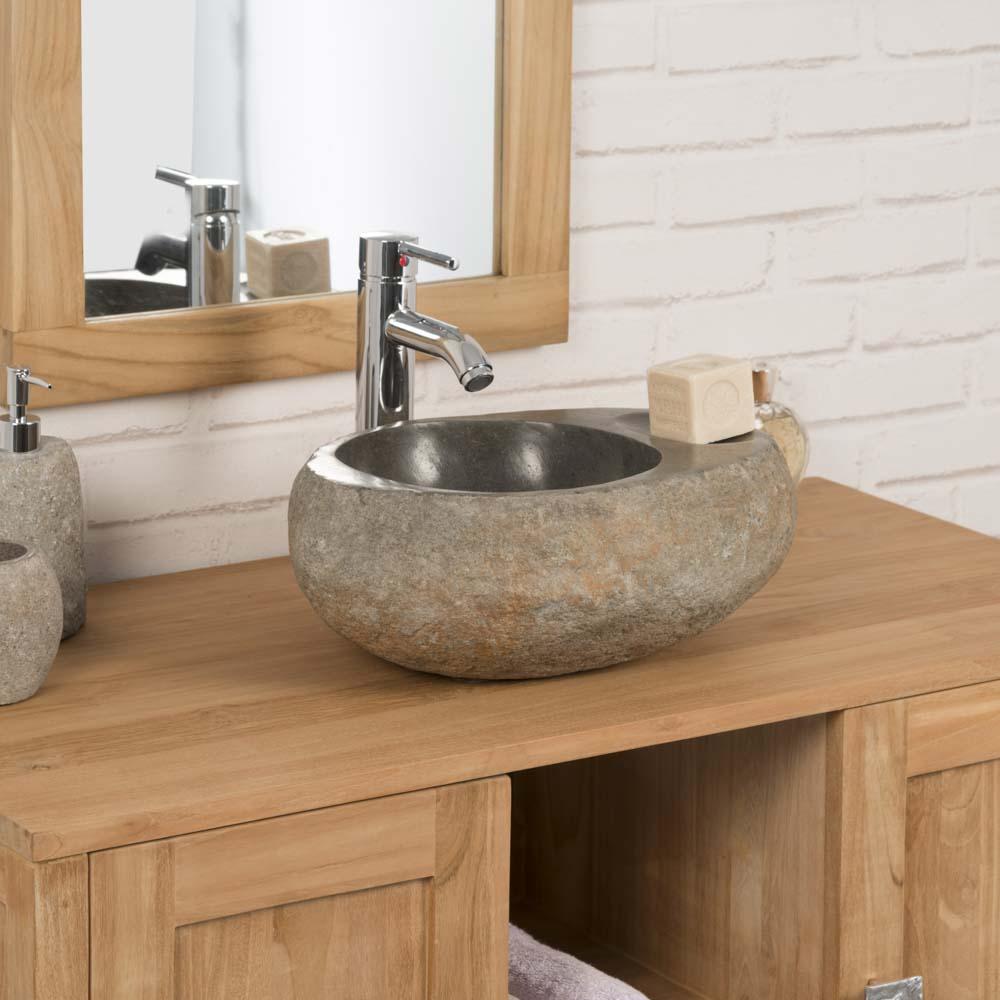 vasque poser en galet de riviere 40 cm porte savon. Black Bedroom Furniture Sets. Home Design Ideas