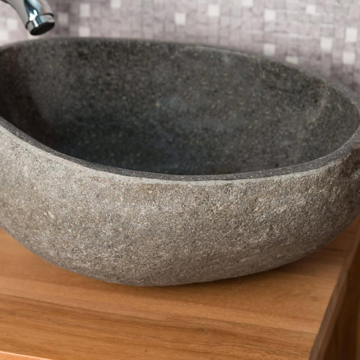 Lave mains de wc poser en galet de rivi re naturel - Galet mural salle de bain ...