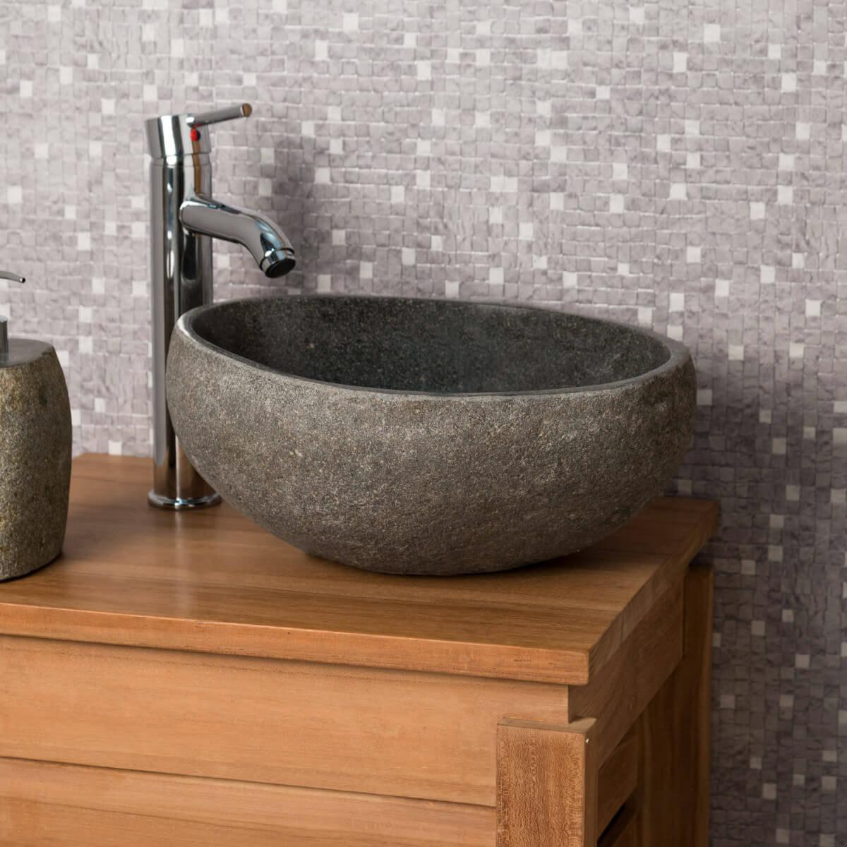 lave mains de wc poser en galet de rivi re naturel rond d 30 cm. Black Bedroom Furniture Sets. Home Design Ideas