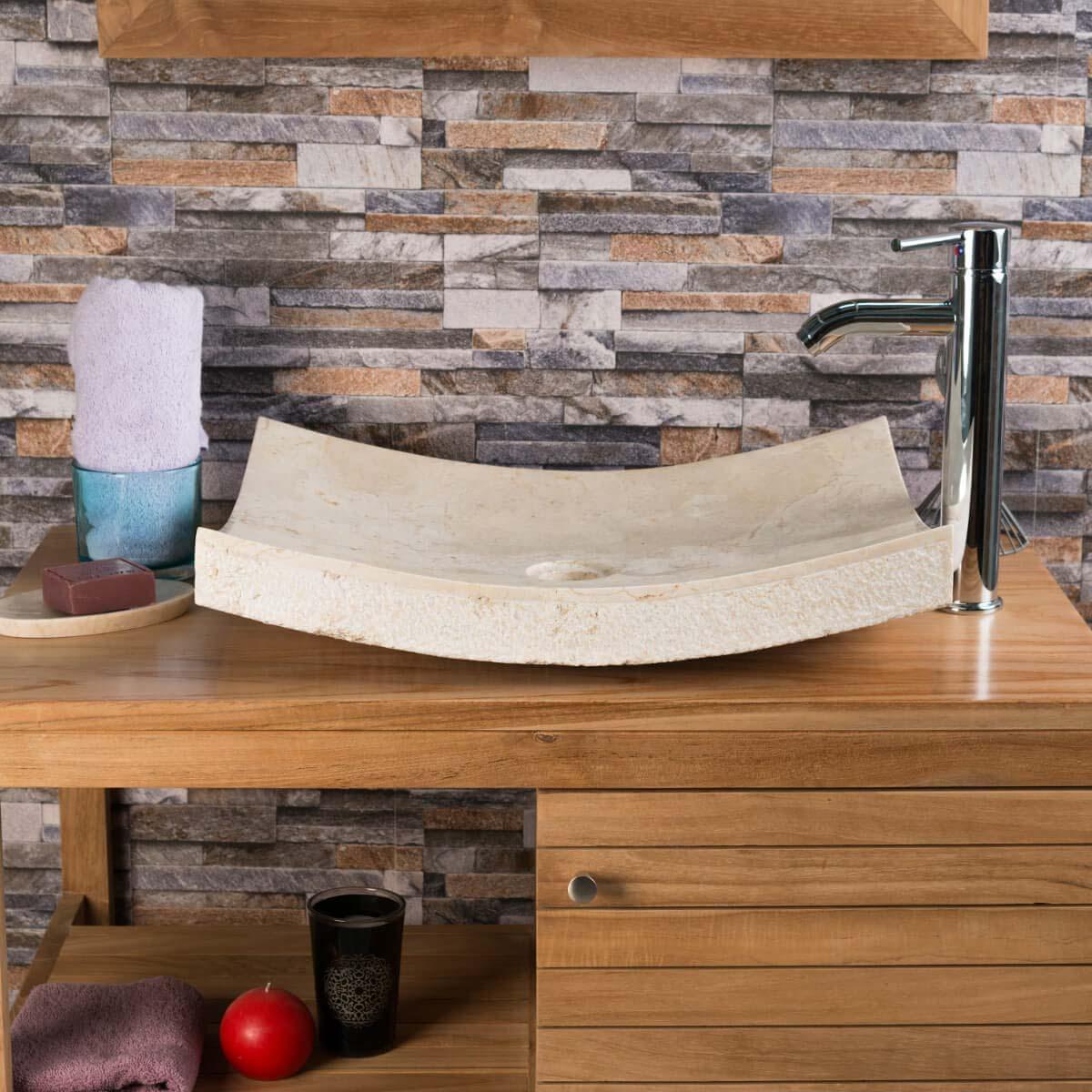 vasque poser en marbre g nes rectangle cr me d 50 cm. Black Bedroom Furniture Sets. Home Design Ideas