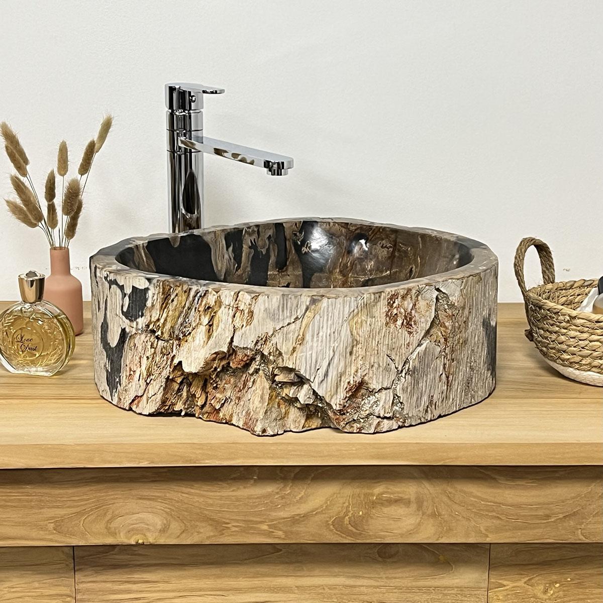 Double vasques de salle de bain en bois p trifi fossilis for Vasque salle de bain en bois