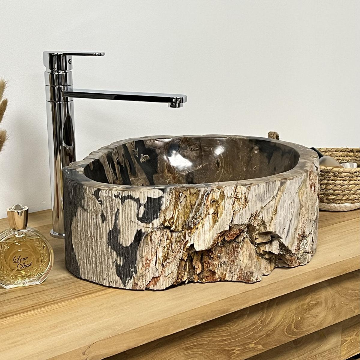 double vasques de salle de bain en bois p trifi fossilis. Black Bedroom Furniture Sets. Home Design Ideas