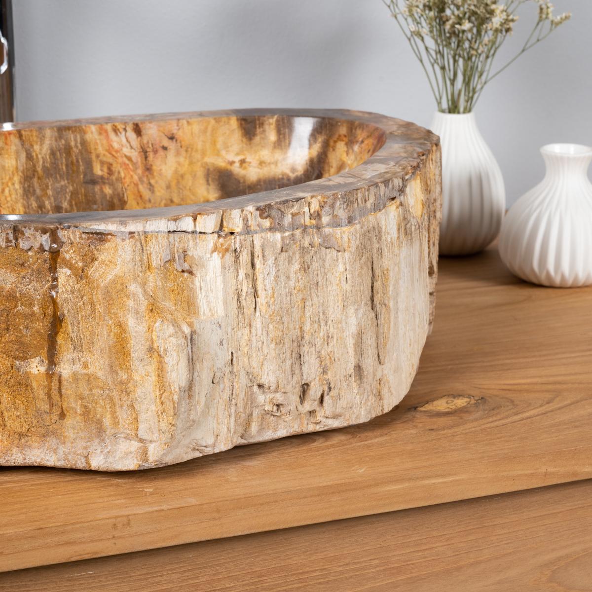 Vasque vasque poser bois p trifi fossilis l 47 cm for Vasque salle de bain en bois