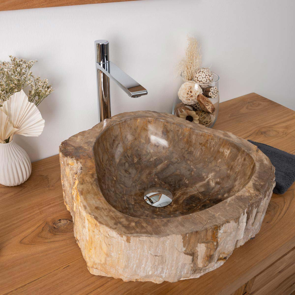 Vasque à poser en bois pétrifié fossilisé : noire, l : 43 cm