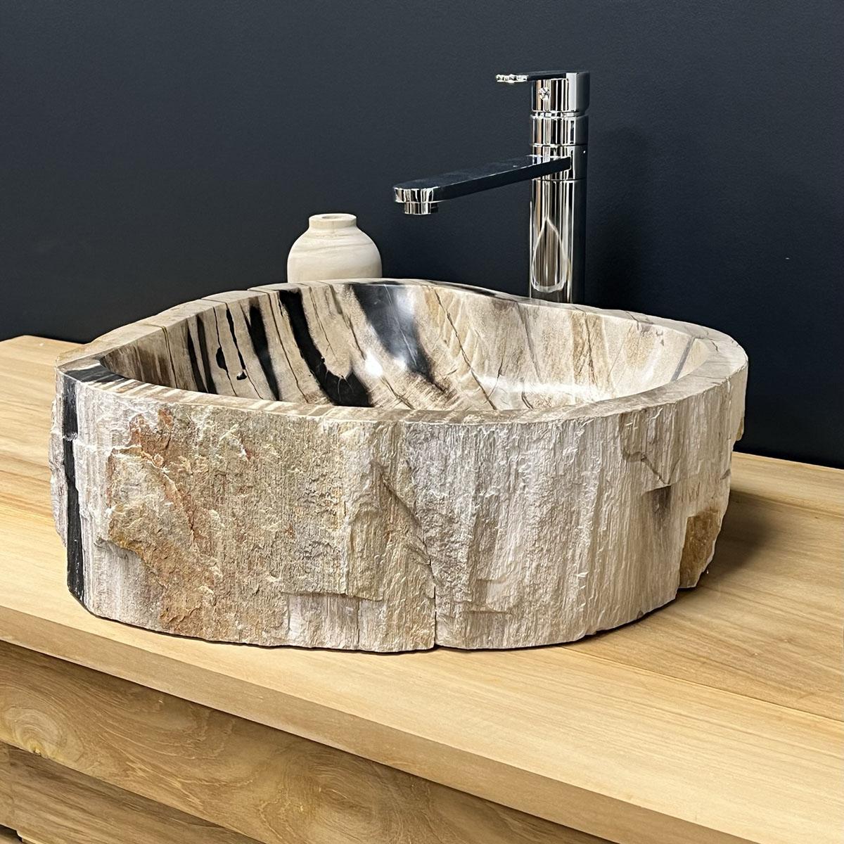 Vasque vasque poser bois p trifi fossilis l 45 cm for Collection wellington salle de bain