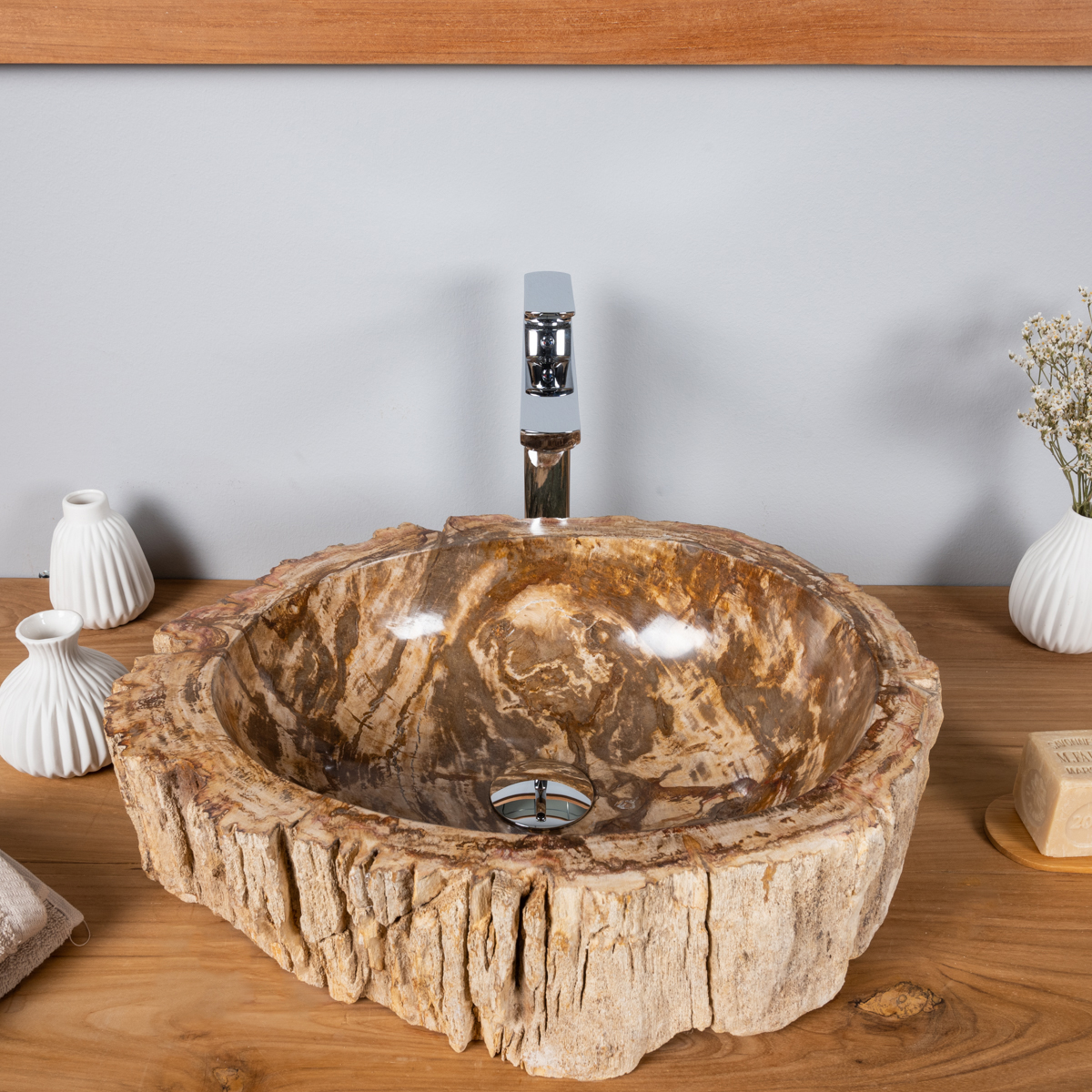 vasque poser en bois p trifi fossilis l 51 cm. Black Bedroom Furniture Sets. Home Design Ideas
