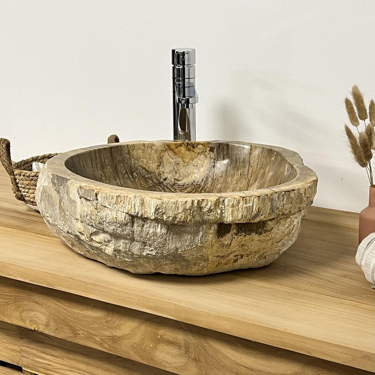 Vasque poser en bois p trifi fossilis l 51 cm for Vasque salle de bain en bois