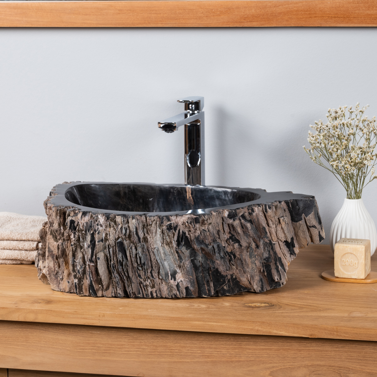 Vasque vasque poser bois p trifi fossilis l 53 cm for Vasque salle de bain en bois
