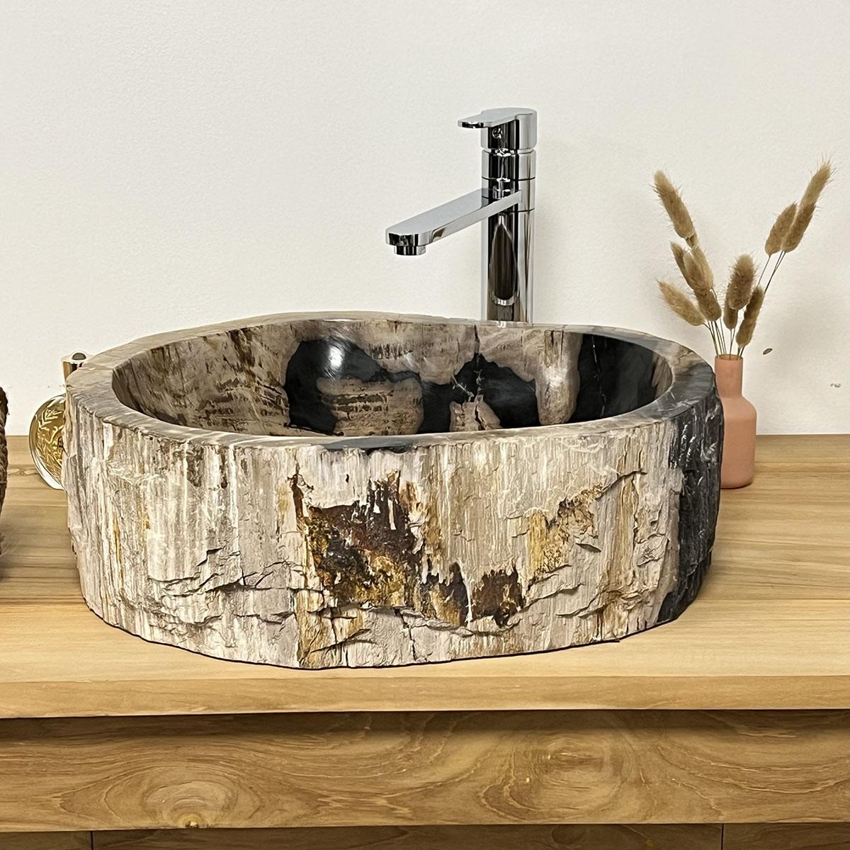 Vasque vasque poser bois p trifi fossilis l 49 cm for Vasque en bois salle de bain
