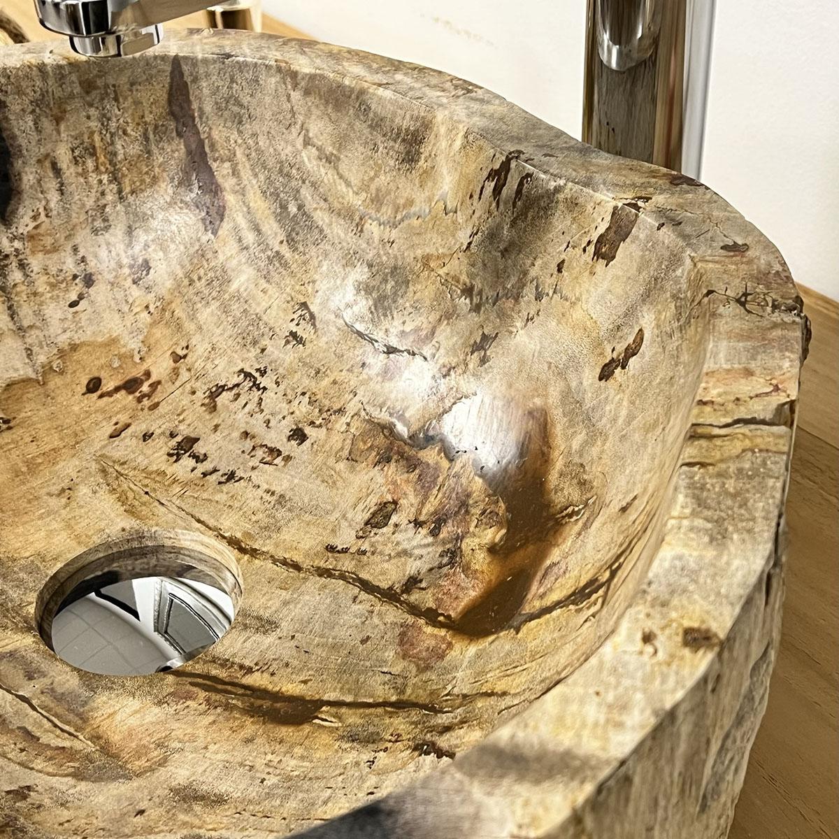 vasque vasque poser bois p trifi fossilis l 43 cm x p 36 cm x h 16 cm. Black Bedroom Furniture Sets. Home Design Ideas