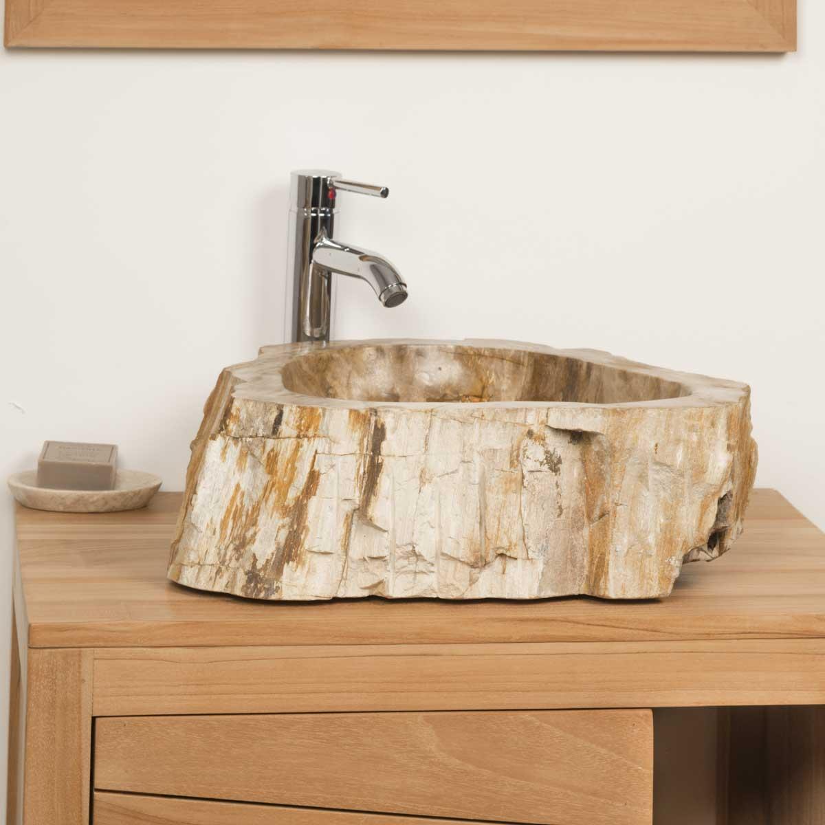 Vasque poser en bois p trifi fossilis l 50 cm - Vasque en bois ...