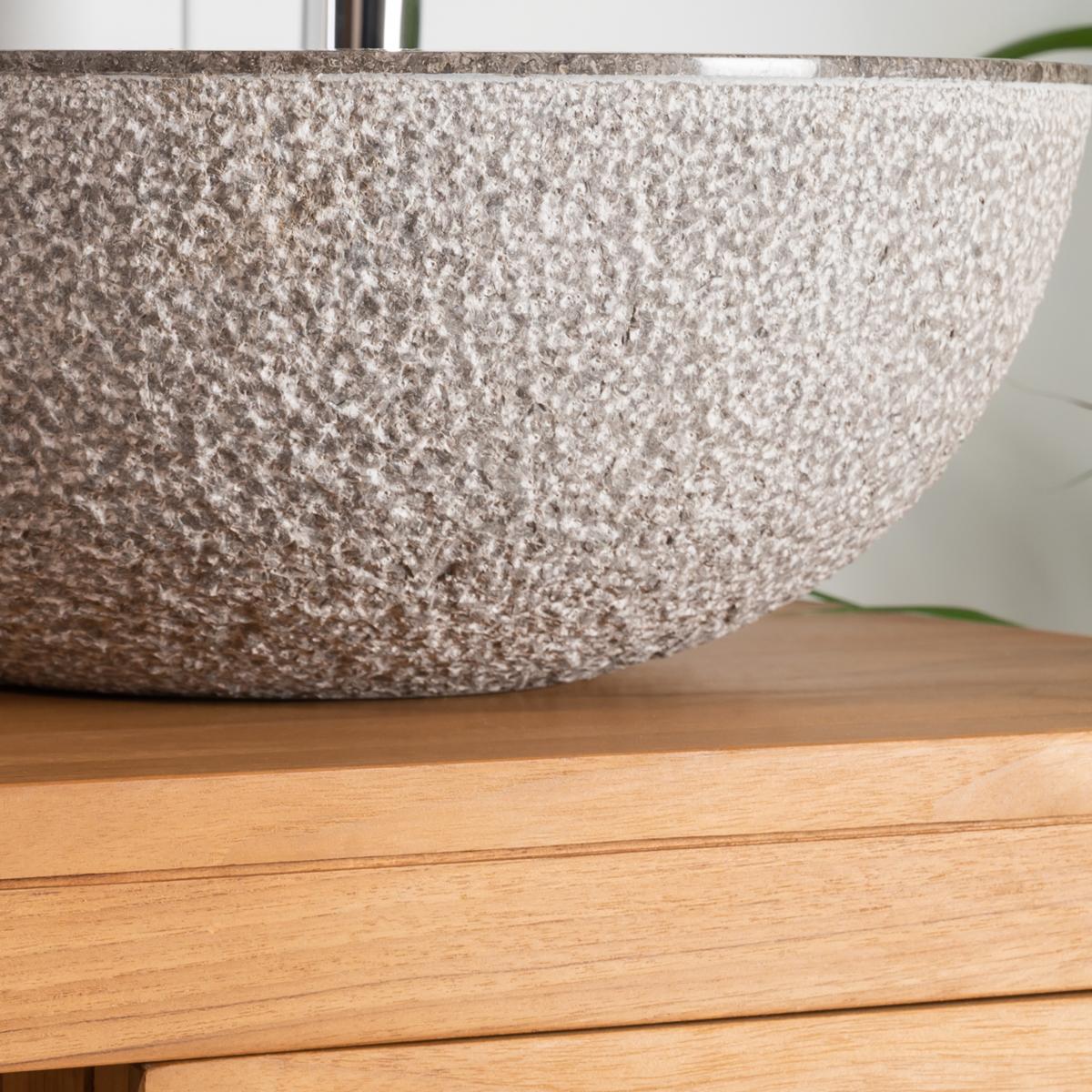 vasque poser en marbre stromboli ronde grise taupe. Black Bedroom Furniture Sets. Home Design Ideas