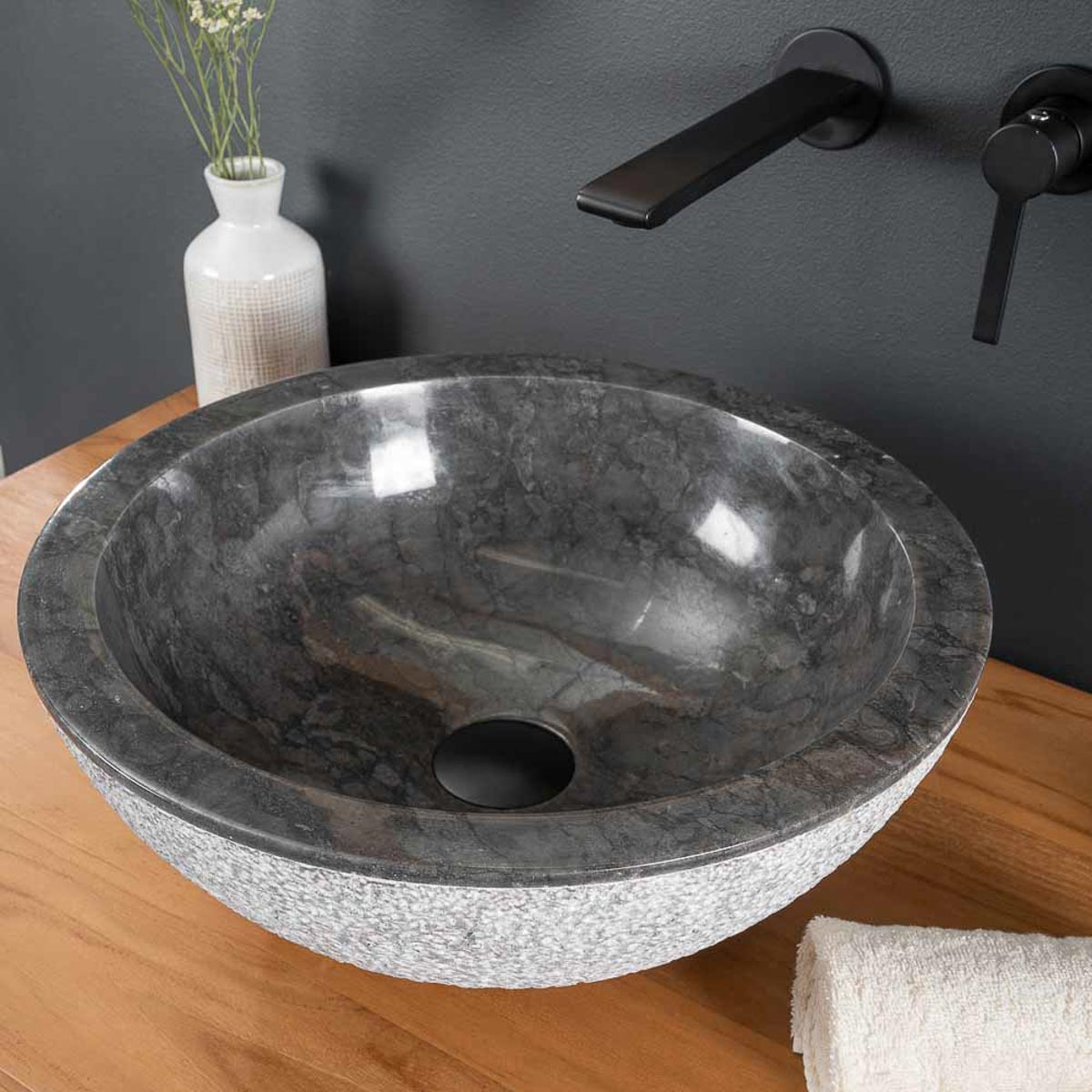 vasque poser en marbre stromboli ronde noire d 40 cm. Black Bedroom Furniture Sets. Home Design Ideas