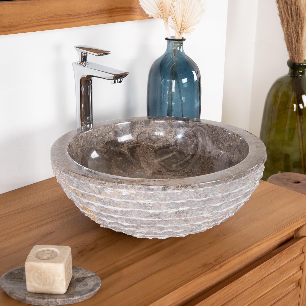 vasque en pierre de salle de bain vesuve gris taupe 40cm. Black Bedroom Furniture Sets. Home Design Ideas