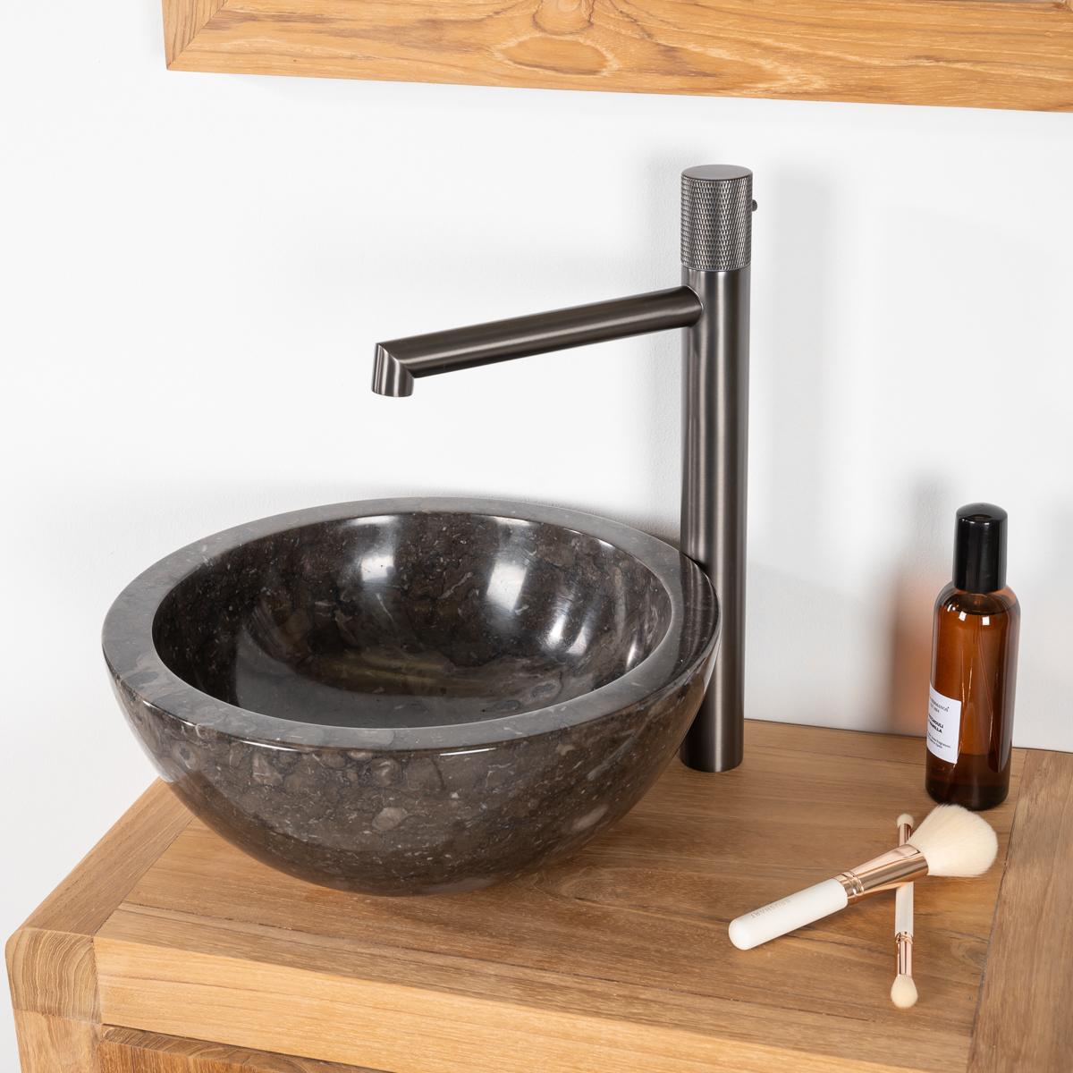 vasque poser en marbre barcelone ronde noire d 30 cm. Black Bedroom Furniture Sets. Home Design Ideas
