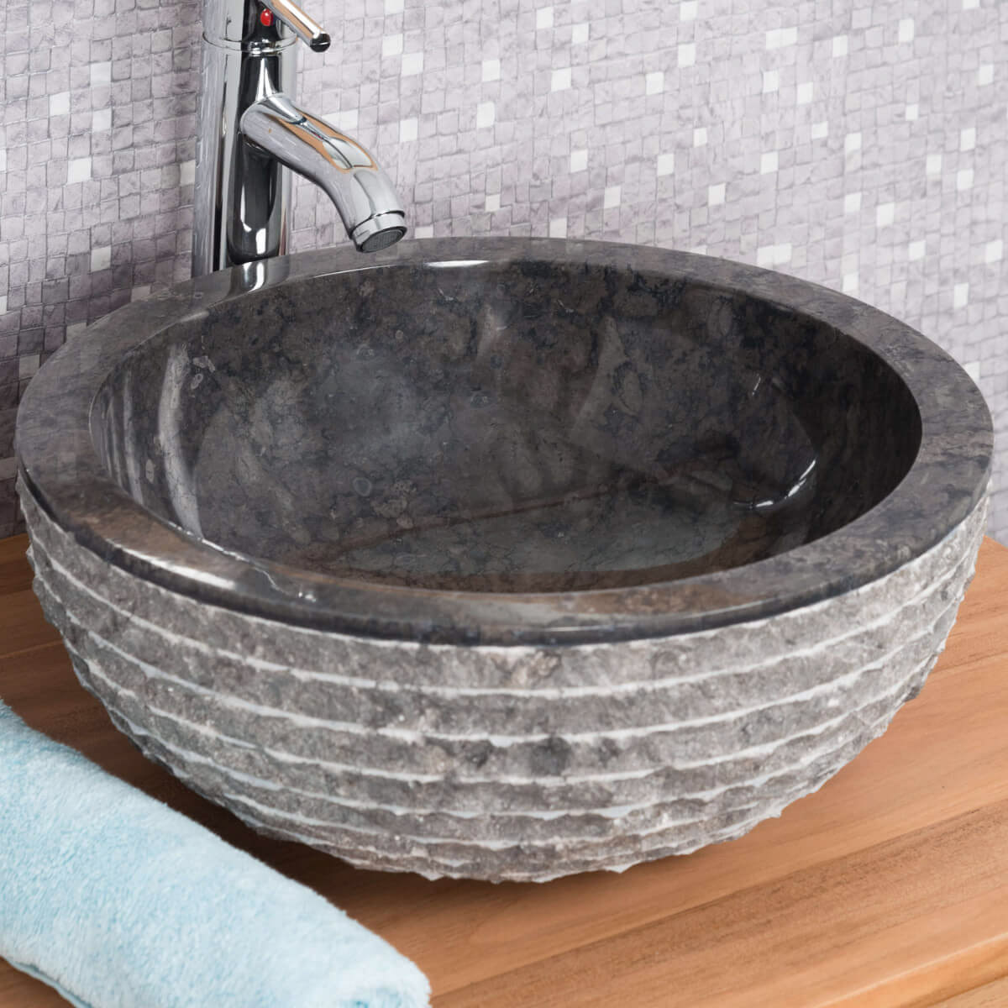 Vasque poser en marbre v suve ronde noire d 40 cm - Vasque salle de bain ronde ...