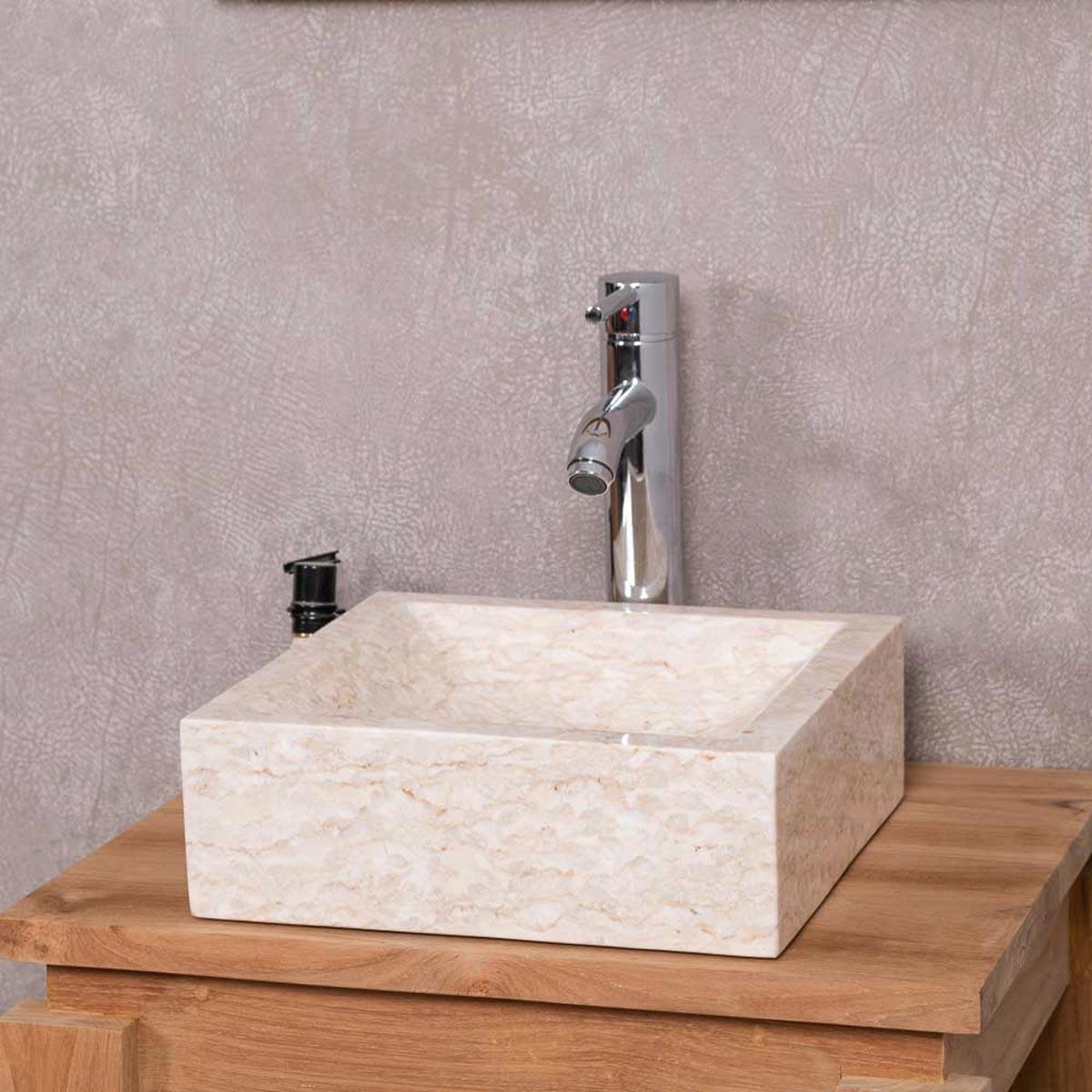 vasque poser marbre carr e cr me alexandrie l 30. Black Bedroom Furniture Sets. Home Design Ideas