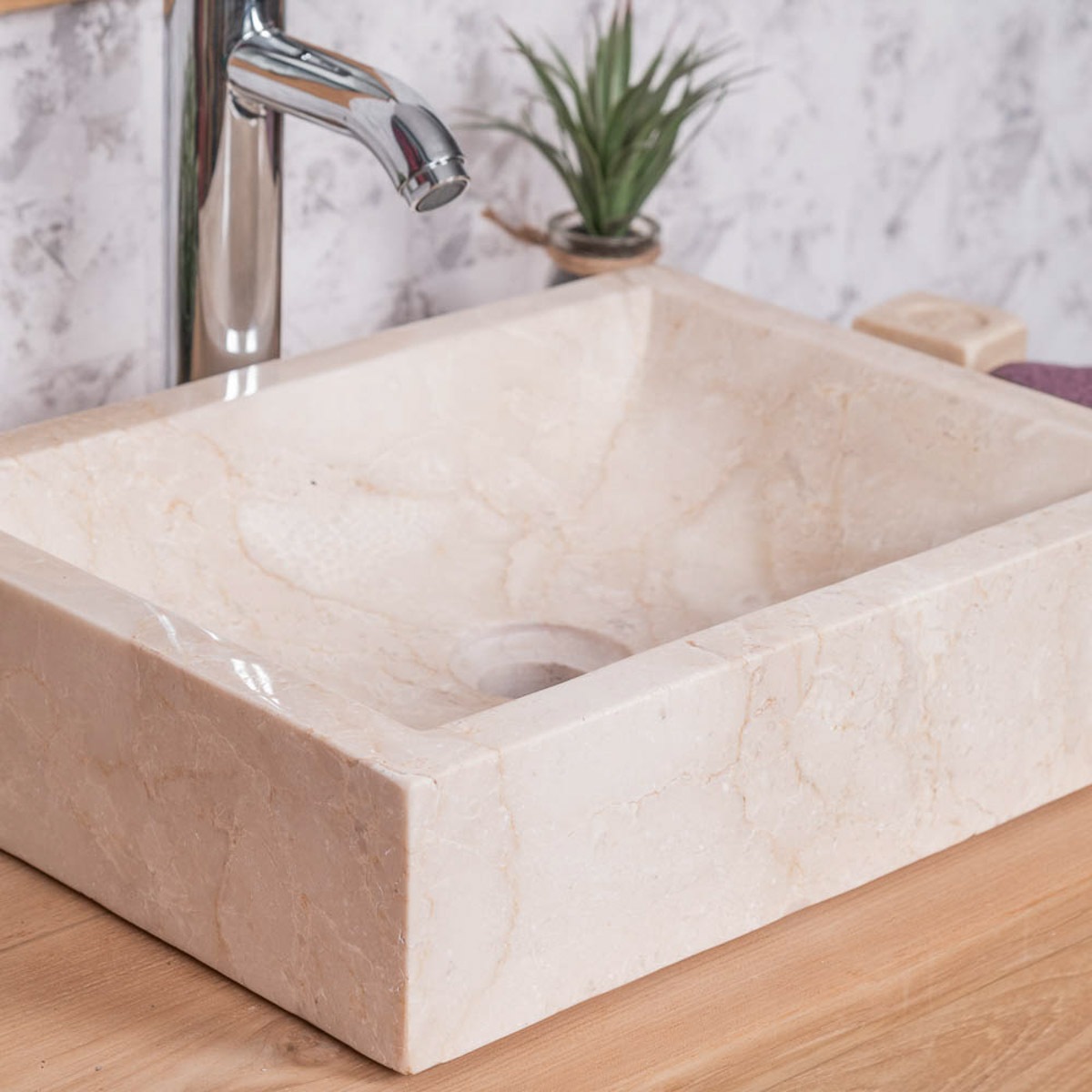 Vasque poser marbre rectangle cr me alexandrie l 40 x p 30 x h 10 cm - Vasque salle de bain a poser ...