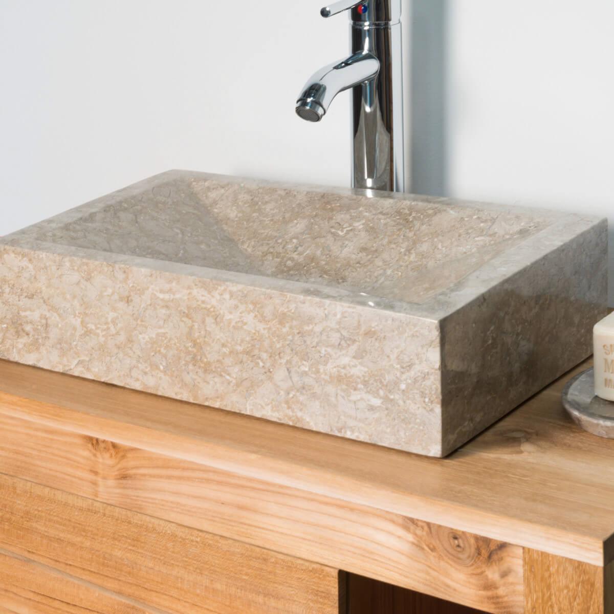 Vasque poser en marbre alexandrie rectangle grise for Salle de bain taupe et gris
