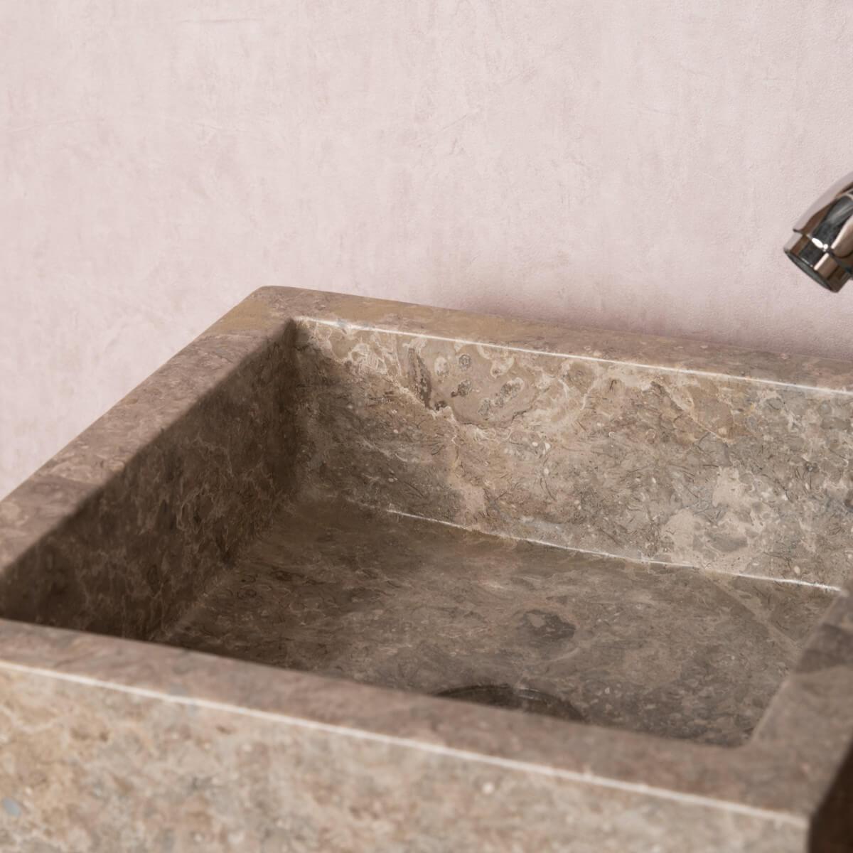 vasque poser en marbre milan ronde grise taupe d 30cm. Black Bedroom Furniture Sets. Home Design Ideas