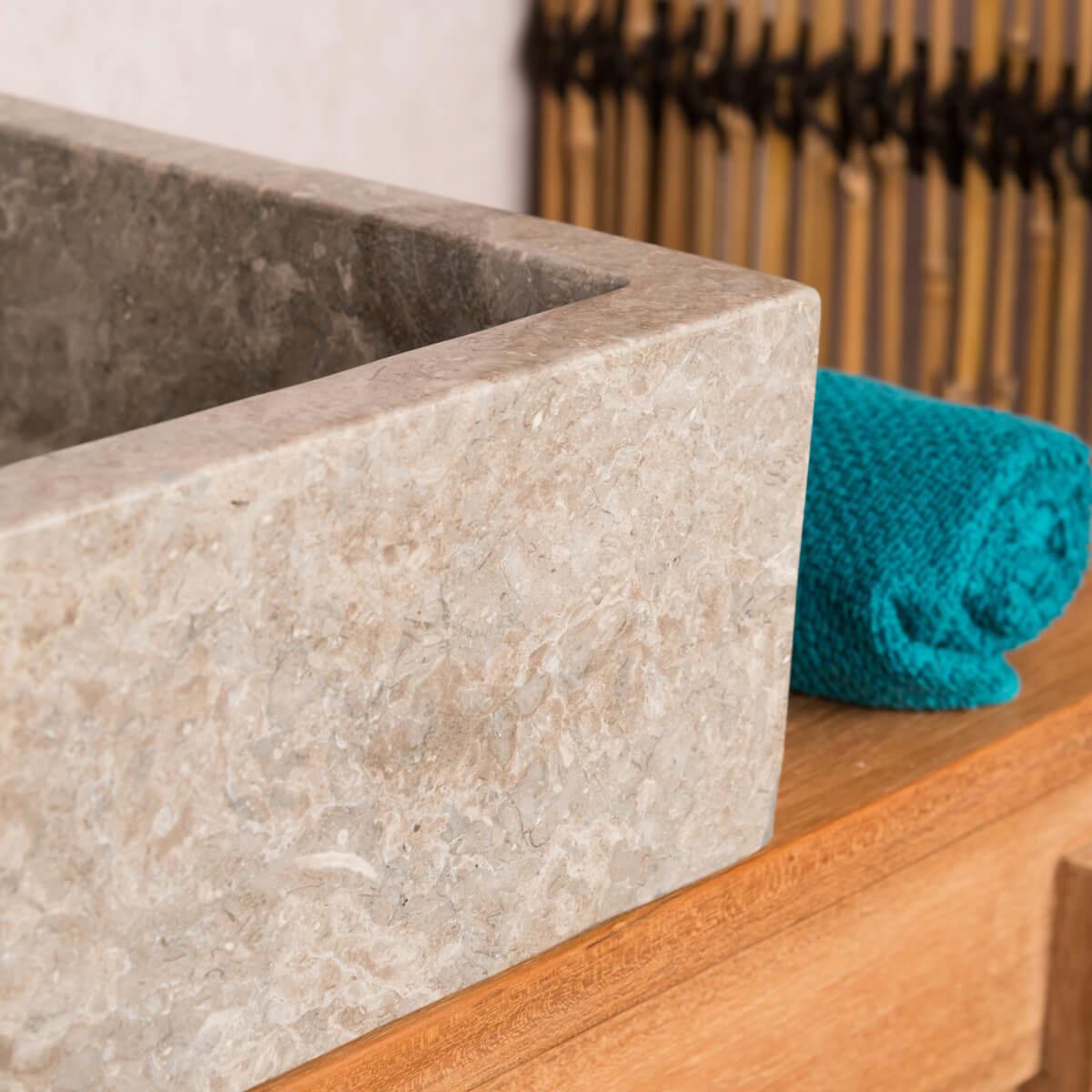 Vasque à poser en marbre : milan, ronde, grise taupe, d : 30cm