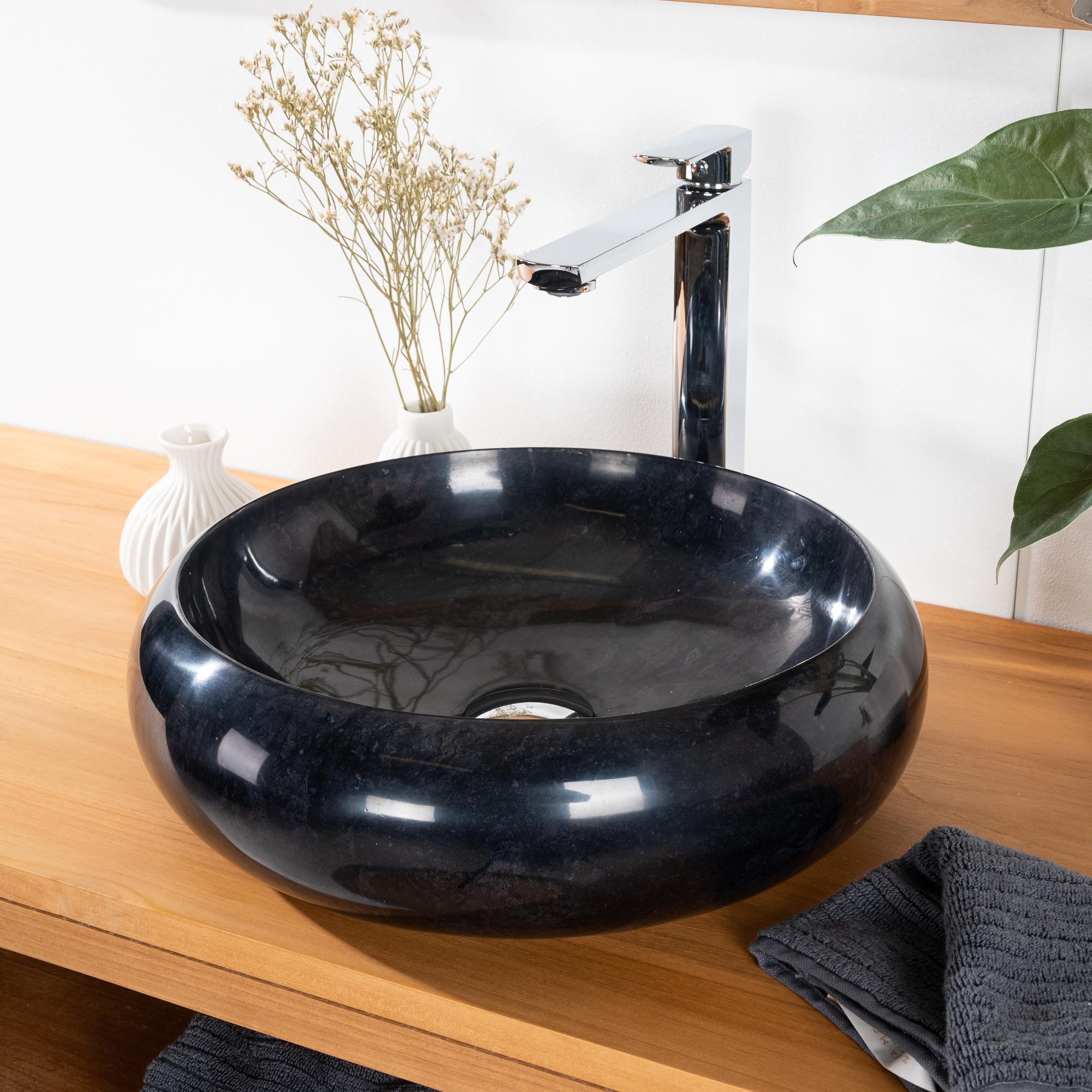 vasque salle de bain poser en marbre venise noir 40cm. Black Bedroom Furniture Sets. Home Design Ideas