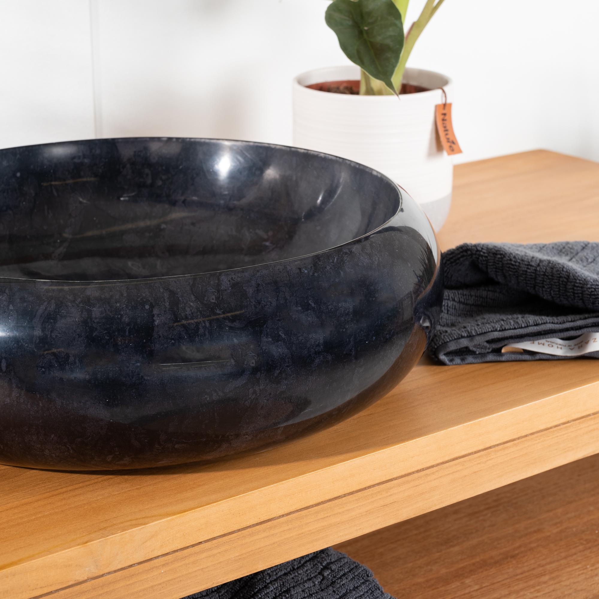 Vasque poser en marbre venise ronde noire d 40 cm for Meuble vasque salle de bain 40 cm