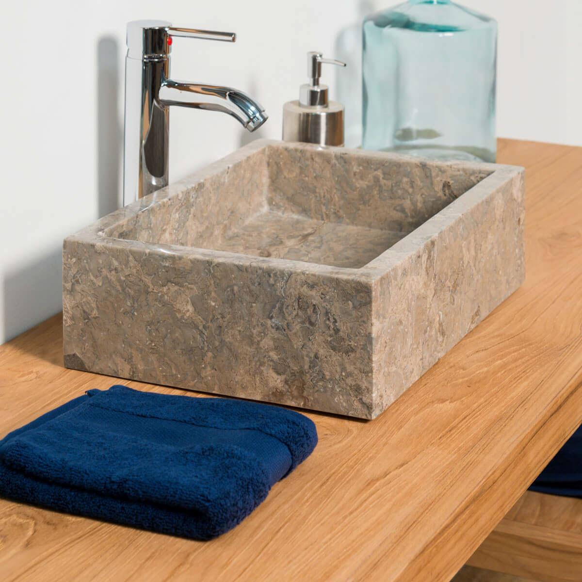 Vasque poser en marbre milan rectangle grise taupe for Salle de bain taupe et gris
